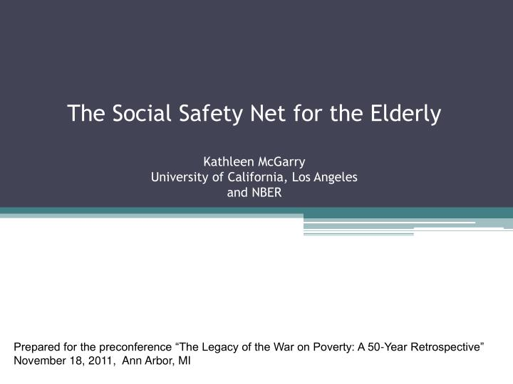 The Social Safety Net for the Elderly