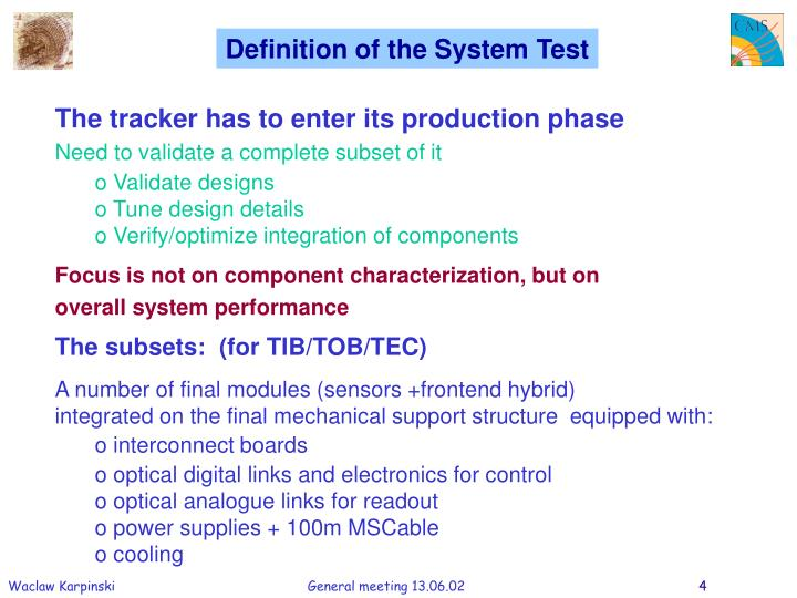 Definition of the System Test