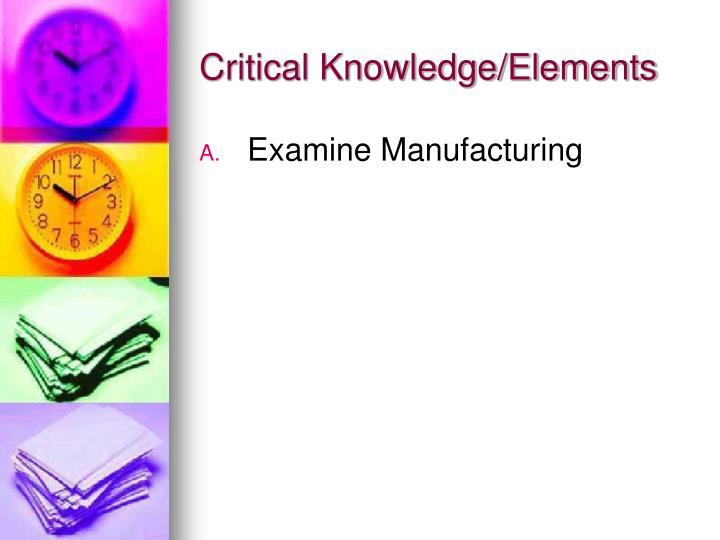 Critical knowledge elements