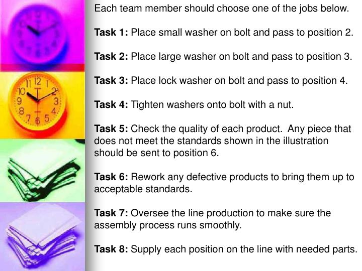 Each team member should choose one of the jobs below.