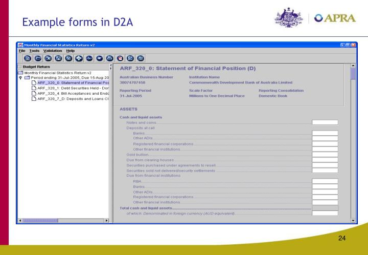 Example forms in D2A