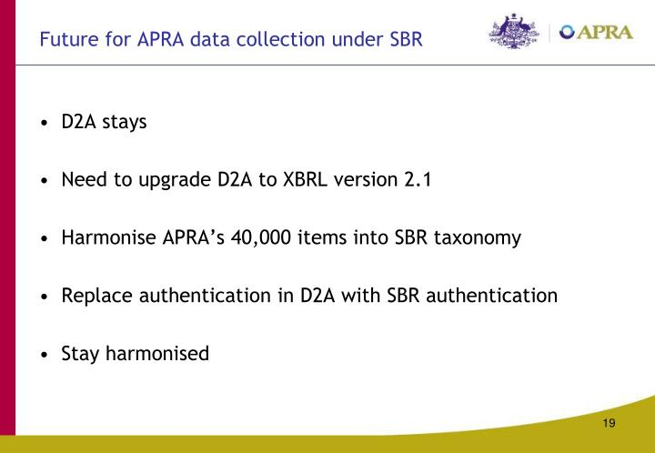 Future for APRA data collection under SBR