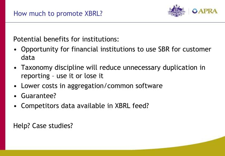How much to promote XBRL?