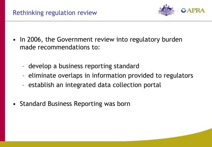 Rethinking regulation review