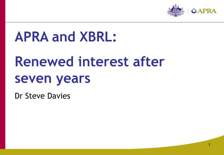 APRA and XBRL: