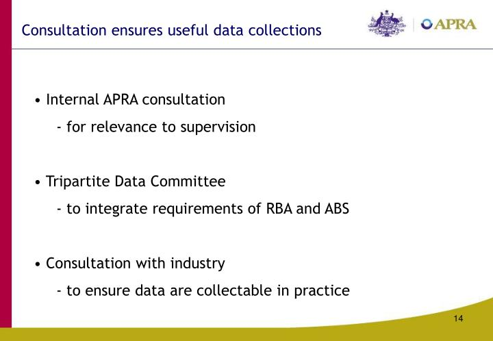 Consultation ensures useful data collections