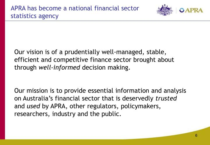 APRA has become a national financial sector statistics agency