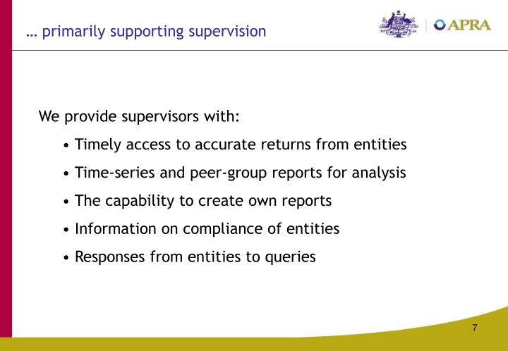 … primarily supporting supervision