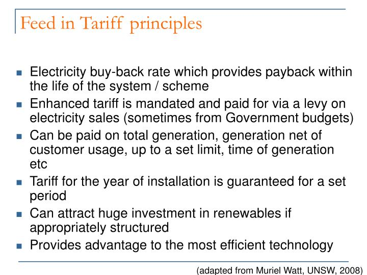 Feed in Tariff principles