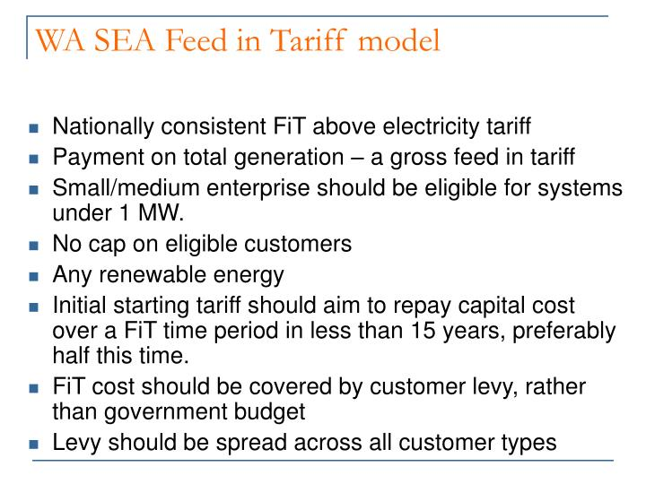 WA SEA Feed in Tariff model