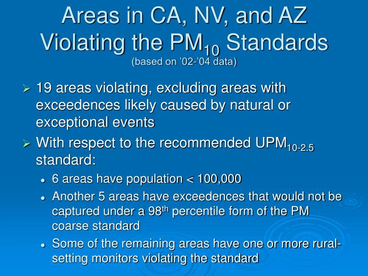Areas in CA, NV, and AZ Violating the PM