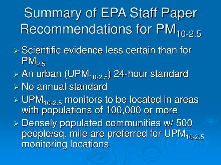 Summary of EPA Staff Paper Recommendations for PM