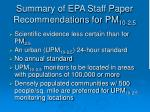 summary of epa staff paper recommendations for pm 10 2 5