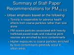 summary of staff paper recommendations for pm 10 2 51