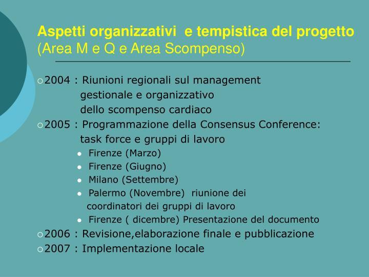 Aspetti organizzativi  e tempistica del progetto