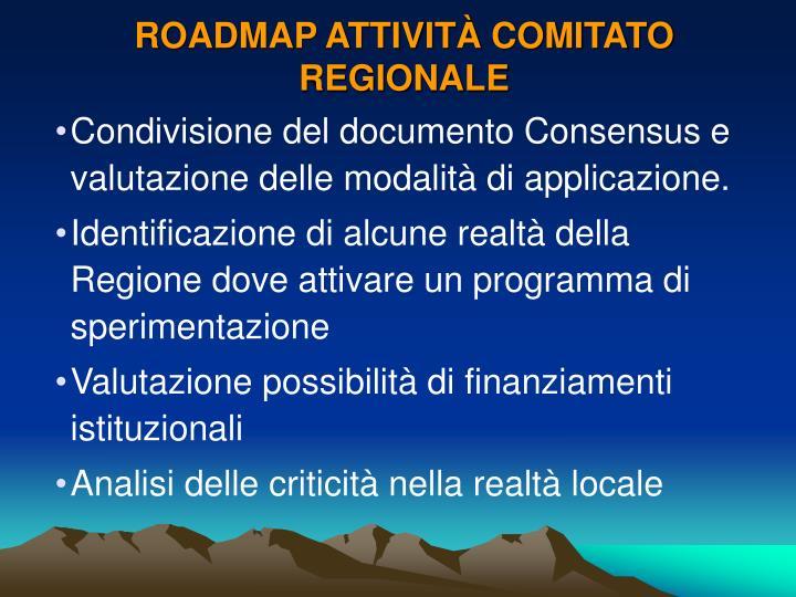 ROADMAP ATTIVITÀ COMITATO REGIONALE