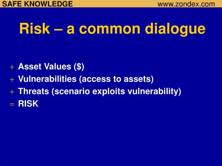 Risk – a common dialogue