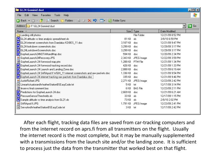 After each flight, tracking data files are saved from car-tracking computers and