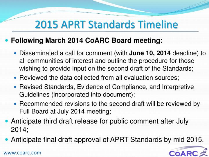2015 APRT Standards Timeline