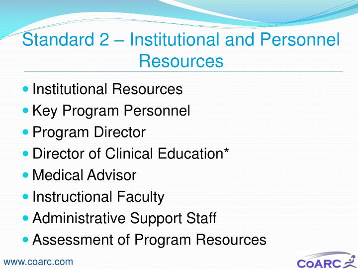 Standard 2 – Institutional and Personnel Resources