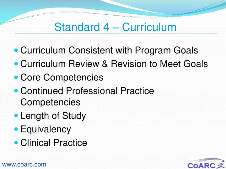 Standard 4 – Curriculum