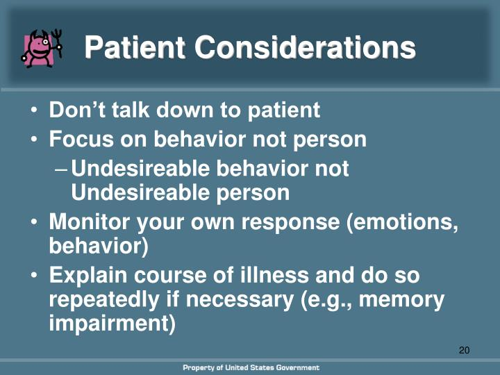 Patient Considerations