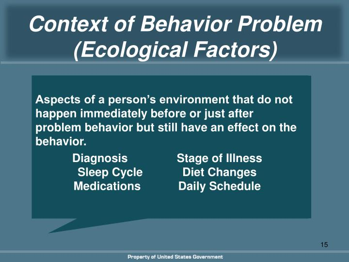 Context of Behavior Problem