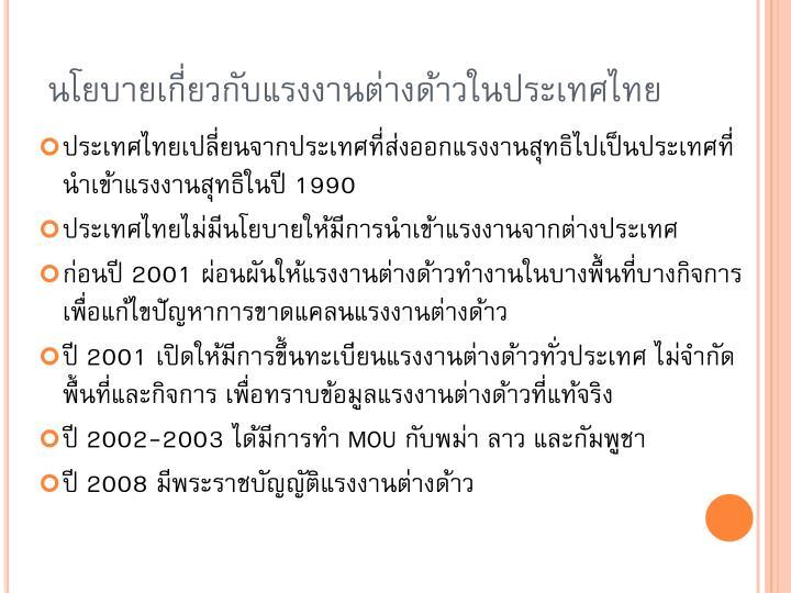 นโยบายเกี่ยวกับแรงงานต่างด้าวในประเทศไทย