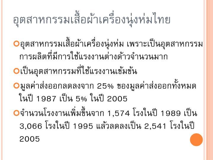 อุตสาหกรรมเสื้อผ้าเครื่องนุ่งห่มไทย