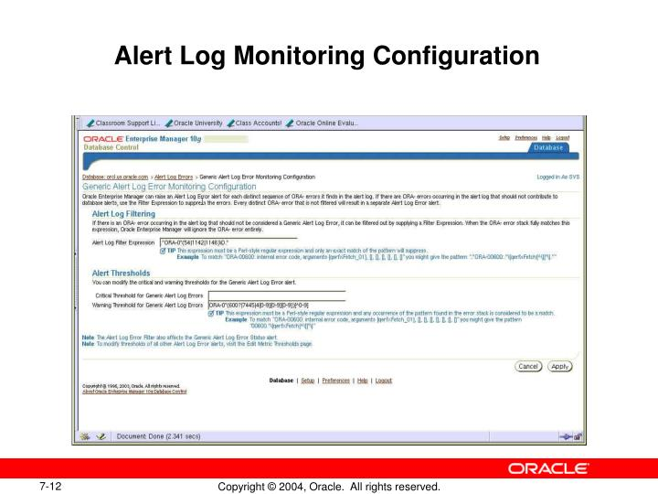 Alert Log Monitoring Configuration