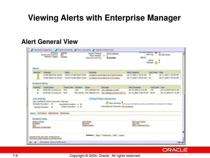 Viewing Alerts with Enterprise Manager