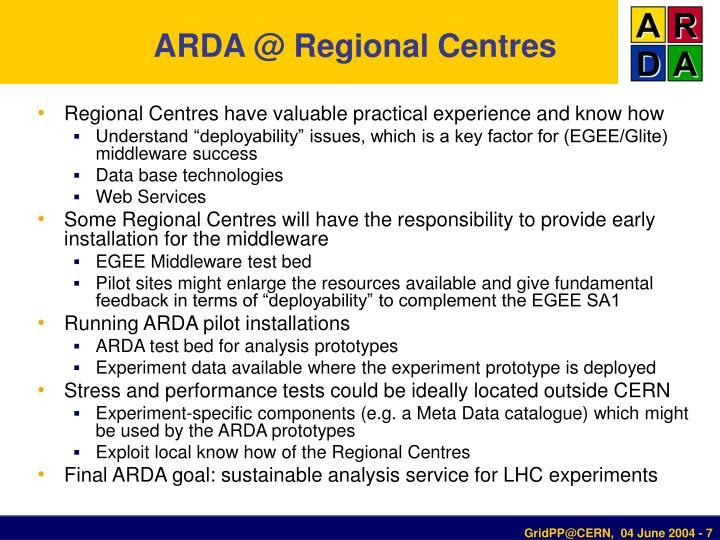 ARDA @ Regional Centres