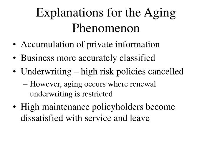Explanations for the Aging Phenomenon