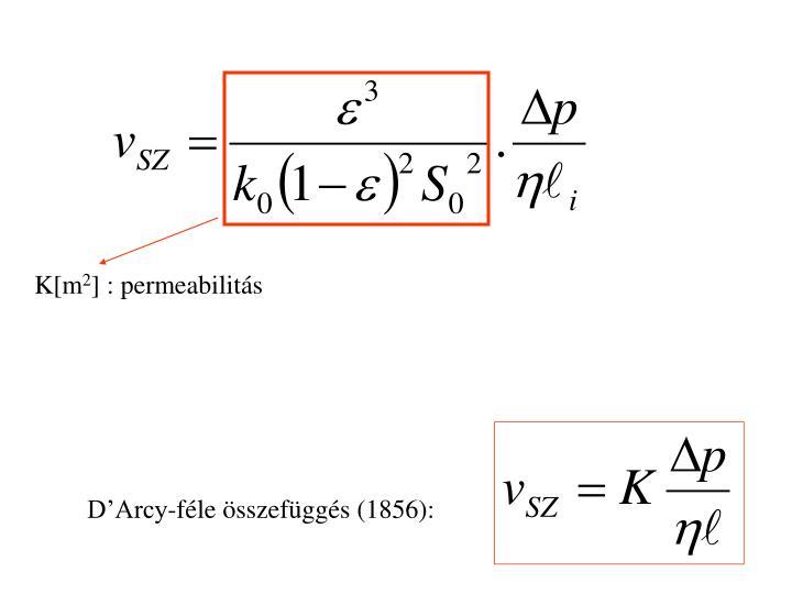 D'Arcy-féle összefüggés (1856):