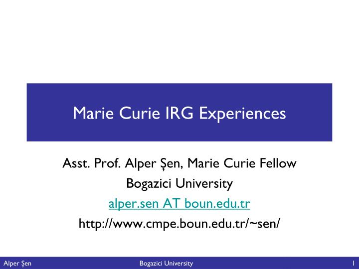 Marie curie irg experiences