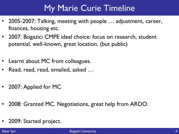 My Marie Curie Timeline