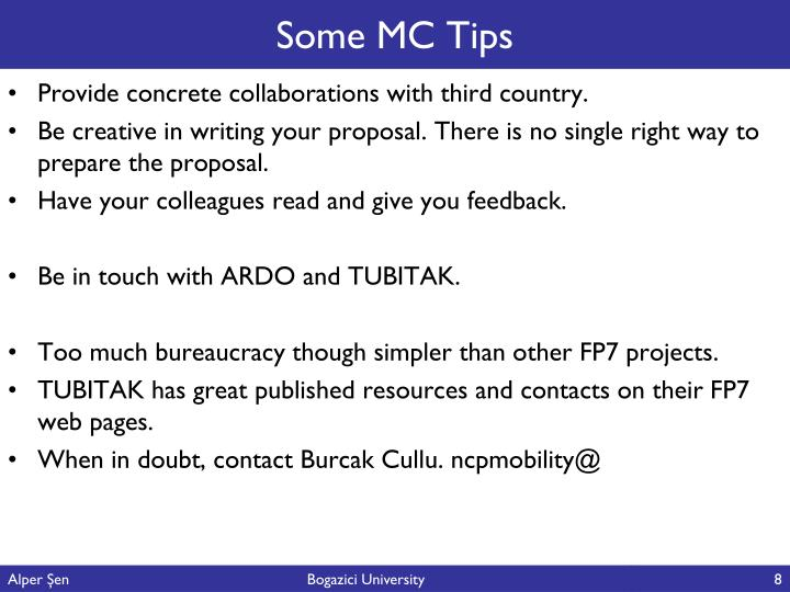 Some MC Tips