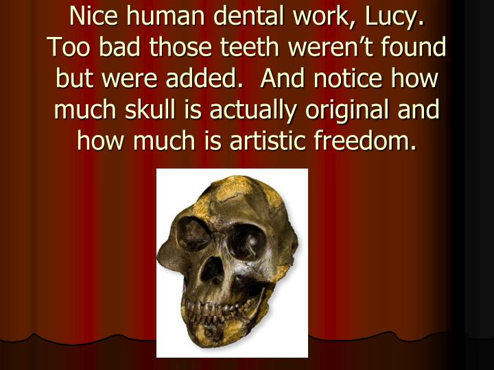 Nice human dental work, Lucy.
