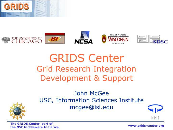 Grids center grid research integration development support