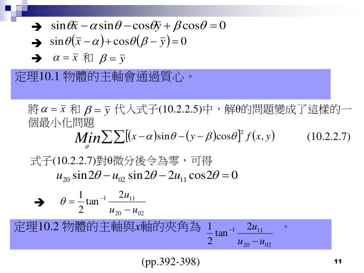 定理10.1 物體的主軸會通過質心。
