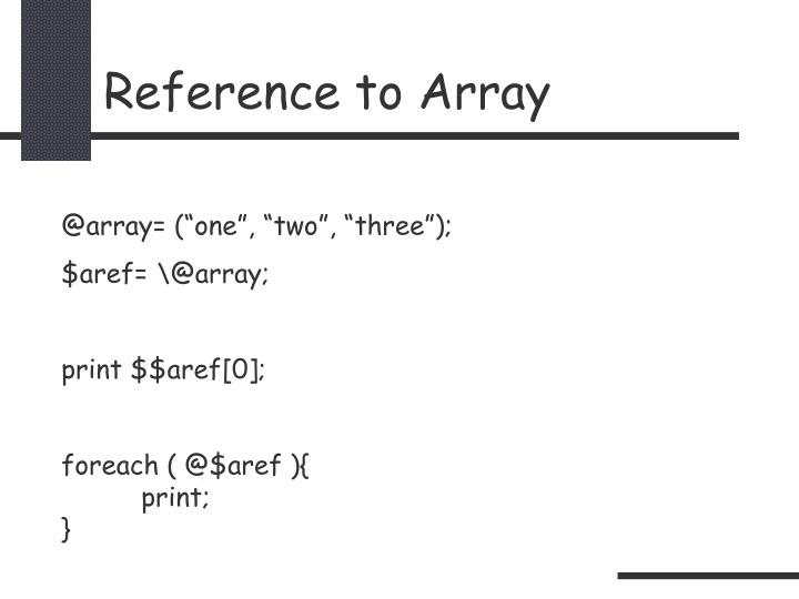 Reference to Array