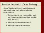 lessons learned 1 cross training