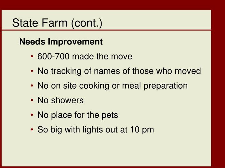 State Farm (cont.)