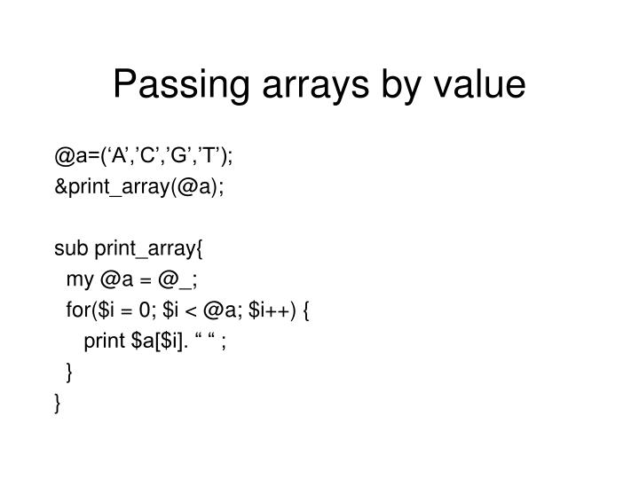 Passing arrays by value