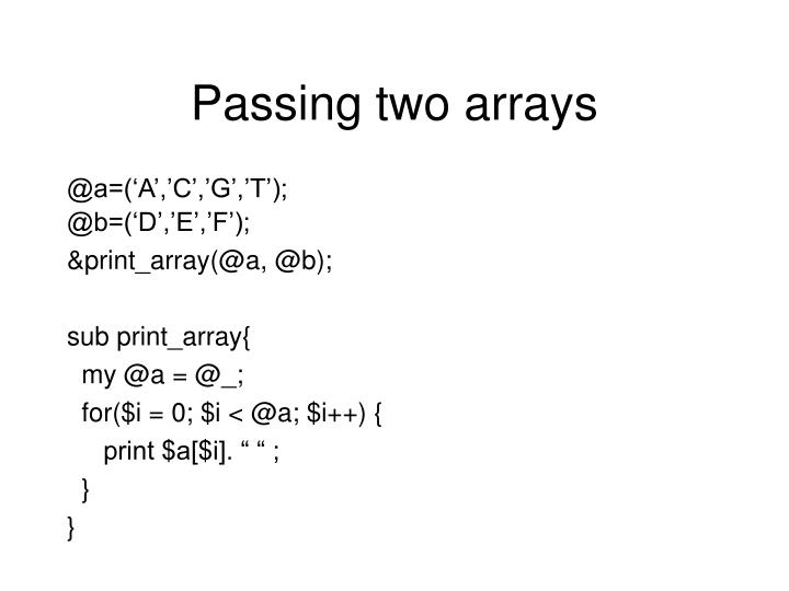 Passing two arrays