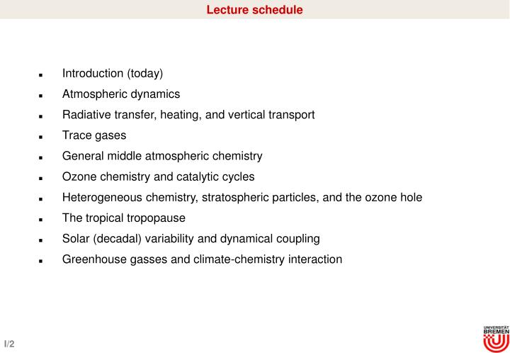 Lecture schedule