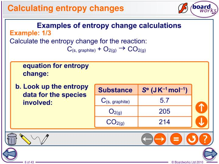 Calculating entropy changes