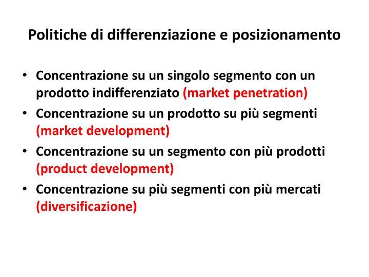 Politiche di differenziazione e posizionamento