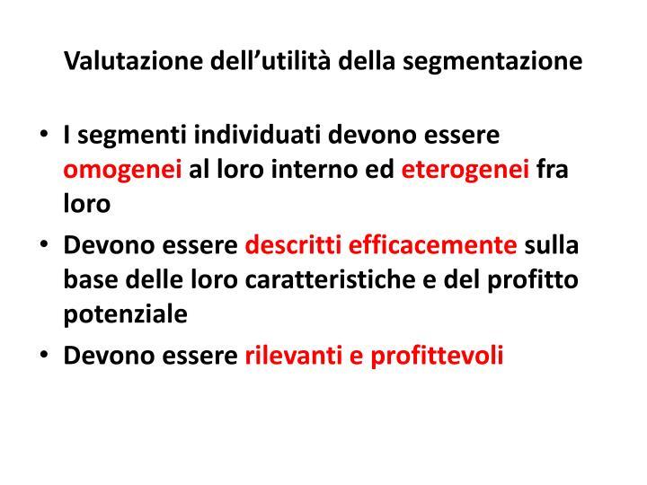 Valutazione dell'utilità della segmentazione