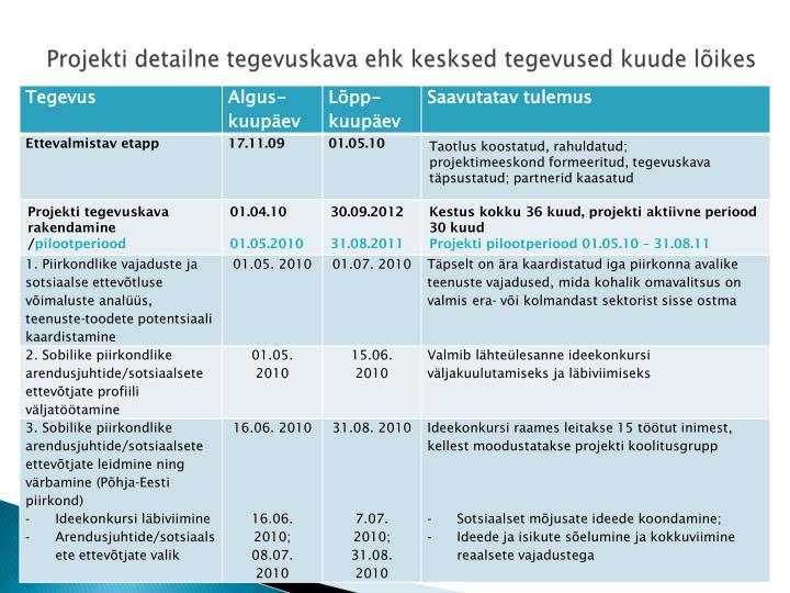 Projekti detailne tegevuskava ehk kesksed tegevused kuude lõikes